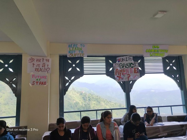 Students protesting at National Law University in Himachal Pradesh on Tuesday. (File photo)