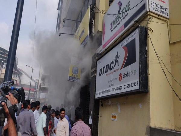 Fire breaks out in a UCO bank branch in Bengaluru on Wednesday. Photo/ANI