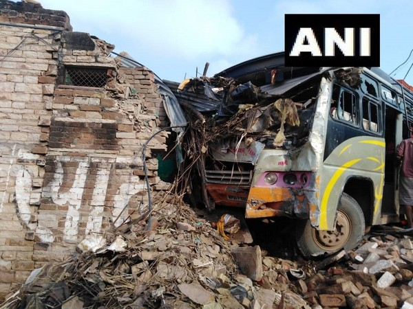 Bus rams into house in Madhya Pradesh's Morena district on Friday. Photo/ANI