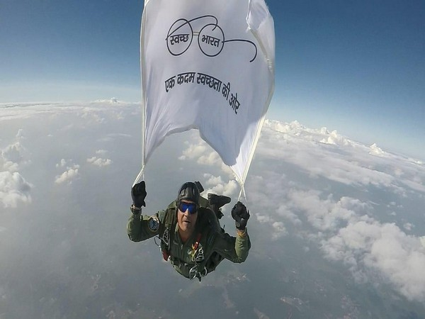 Wg Cdr Gajanand Yadava undertook a skydive jump with the flag from 15,000 feet above the ground.