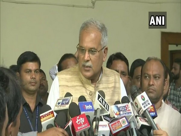 Chhattisgarh Chief Minister Bhupesh Baghel speaking to reporters in Raipur on Thursday. Photo/ANI