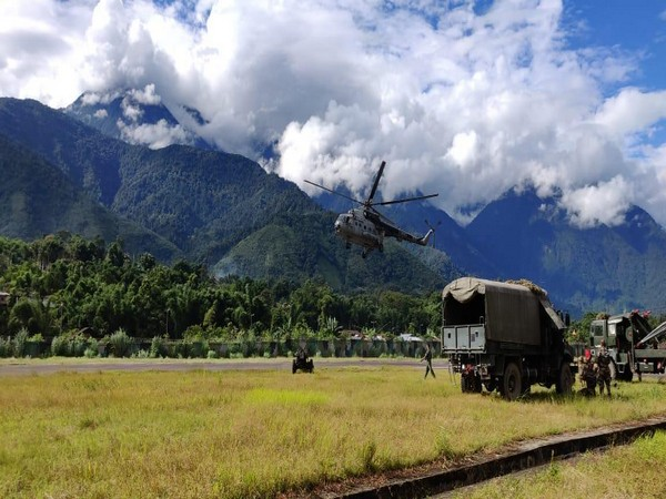 Arunachal Pradesh: A light field gun of Indian Army, was successfully airlifted by under-slung operation by IAF Mi-17 1V helicopter.