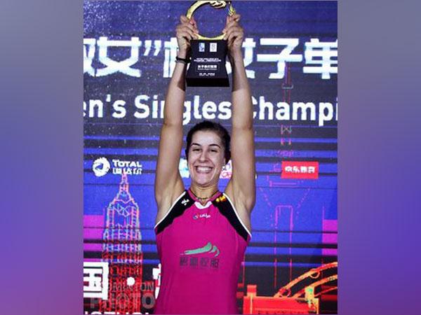 Shuttler Carolina Marin after winning China Open (Photo/ Carolina Marin Twitter)