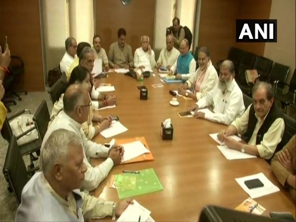 Senior Haryana BJP leaders participating in the meeting at the party headquarters in New Delhi on Sunday. Photo/ANI