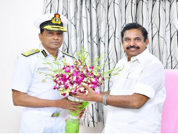 Indian Coast Guard Director General Krishnaswamy Natarajan with Tamil Nadu Chief Minister Edappadi K Palaniswami on Monday.
