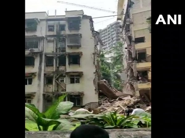 The partially collapsed building in Khar. Photo/ANI
