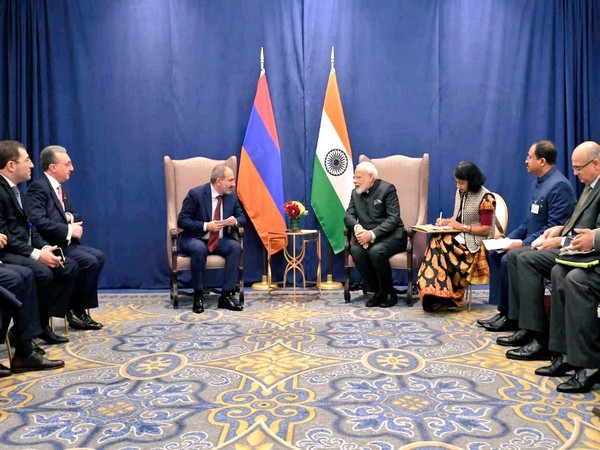 PM Modi and his Armenian counterpart Nikol Pashinyan during a meeting on the sidelines of UNGA in New York on Wednesday. Photo/Twitter