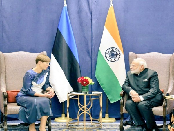 PM Modi and Estonia's President Kersti Kaljulaid during a meeting on the sidelines of UNGA in New York on Wednesday. Photo/Twitter