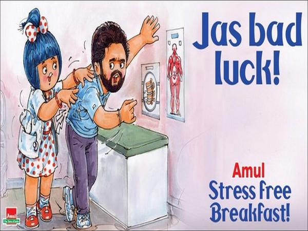 Amul dedicates doodle to pacer Jasprit Bumrah (Photo/ Amul India Twitter)