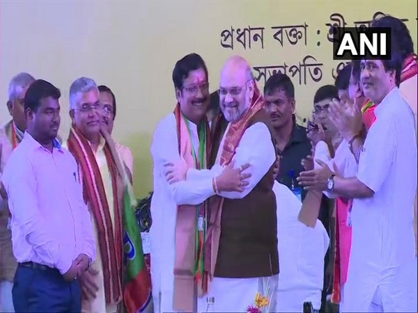 TMC MLA Sabyasachi Dutta with Union Home Minister Amit Shah.