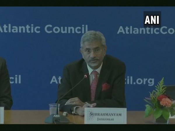 External Affairs Minister S Jaishankar addressing the Atlantic Council event in Washington on Tuesday (Photo/ANI)