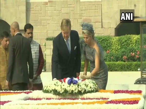 King of The Netherlands, Willem-Alexander and Queen Maxima at Raj Ghat on Monday