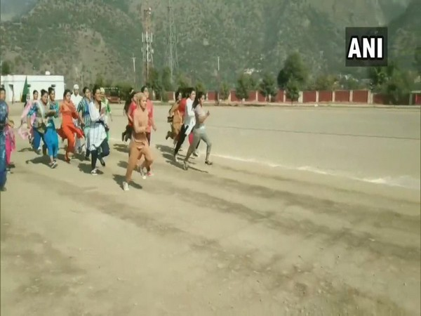 Female candidates participating in police recruitment drive in Ramban district on Monday. Photo/ANI