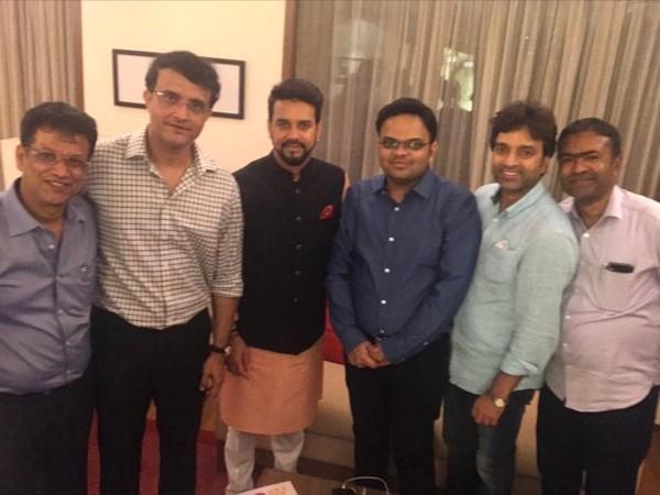 Sourav Ganguly with Anurag Thakur, Arun Dhumal, Jay Shah (Photo/ Sourav Ganguly Twitter)