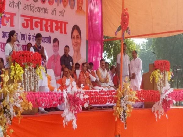 Rajkumari Ratna Singh attending a rally led by Uttar Pradesh Chief Minister Yogi Adityanath on Tuesday in Pratapgarh. Photo/ANI