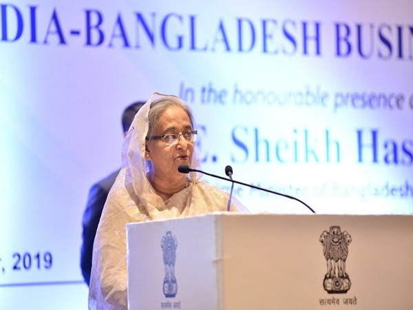 Bangladesh Prime Minister Sheikh Hasina addressing at the India-Bangladesh Business Forum on Friday. (Pic source: FICCI)