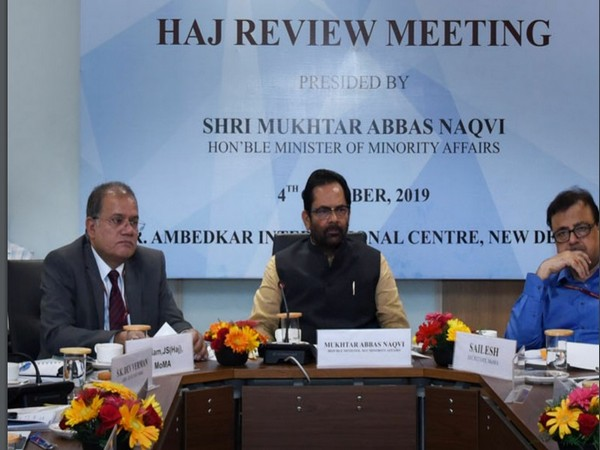 Union Minister for Minority Affairs Mukhtar Abbas Naqvi chairs review meeting to take stock of preparations for next Hajj on Friday. Photo/ANI