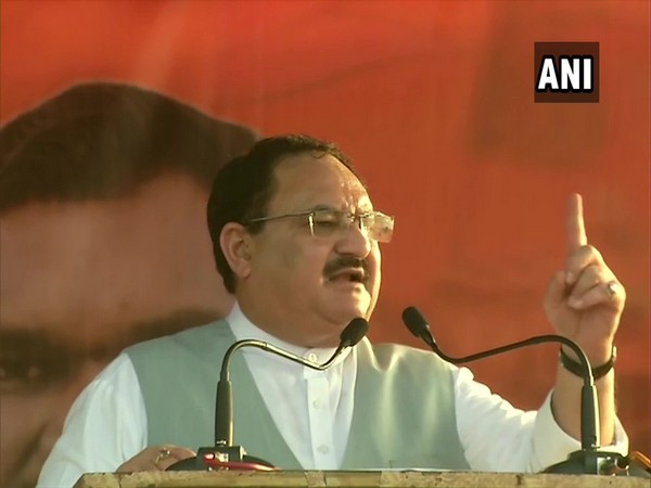 BJP working president JP Nadda addressing a gathering in Jharkhand on Friday. Photo/ANI