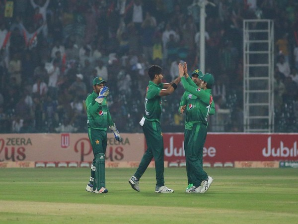 Pakistan pacer Mohammad Hasnain celebrates after taking a wicket against Sri Lanka (Photo/ PCB Twitter)