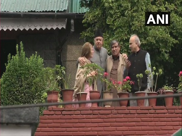 Farooq Abdullah and wife Molly at their residence in Srinagar on Sunday. Photo/ANI