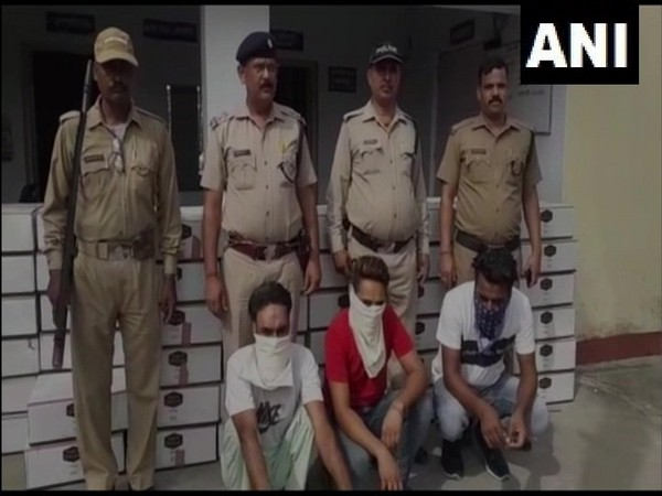 Uttarakhand Police arrests three persons in Nanakmatta and recovers 92 boxes of illicit liquor from their possession. Photo/ANI