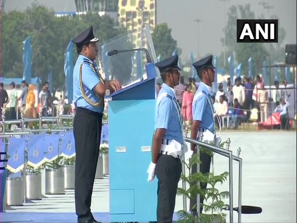 Air Force Chief RKS Bhadauria during his address at the Air Force Day parade. Photo/ANI