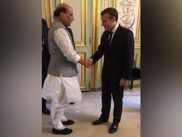 Defence Minister Rajnath Singh and French President Emmanuel Macron met in Paris today