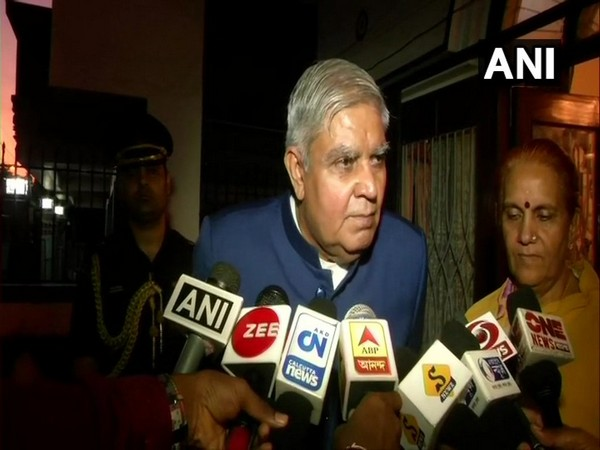 West Bengal Governor Jagdeep Dhankhar talking to reporters in Kolkata on Thursday. Photo/ANI