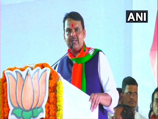 Maharashtra Chief Minister Devendra Fadnavis addressing a public gathering in Pune on Thursday. Photo/ANI