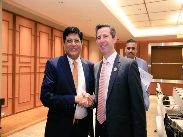 Union minister Piyush Goyal and his Australian counterpart Simon Birmingham