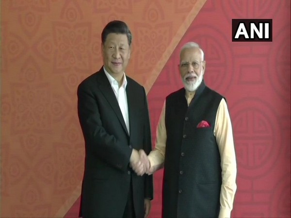Chinese President Xi Jinping and Prime Minister Narendra Modi at the venue for Day 2 of Mamallapuram Summit on Saturday (Photo/ANI)