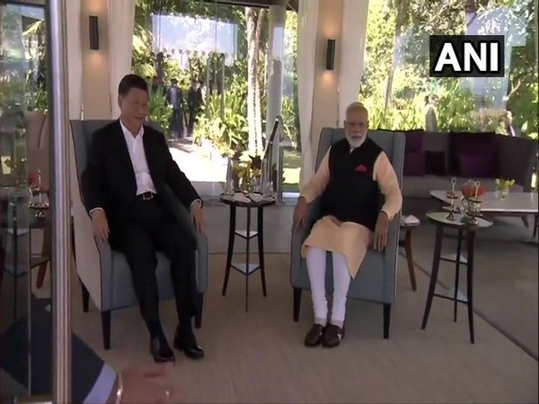 Chinese President Xi Jinping and Prime Minister Narendra Modi at the one-on-one talks during the Second Informal Summit in Mamallapuram on Saturday (Photo/ANI)