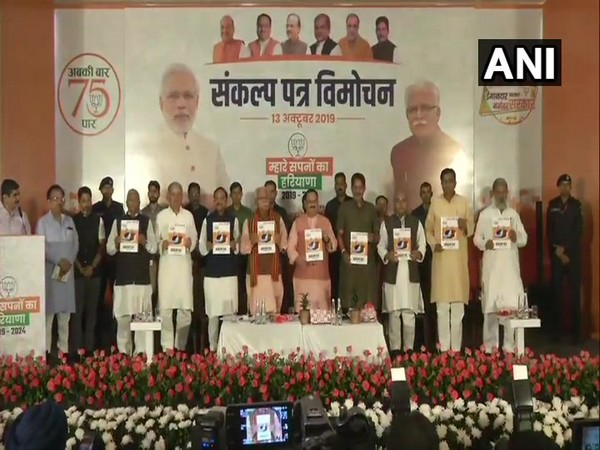 BJP releases their election manifesto for forthcoming Haryana Assembly elections. (Photo/ANI)