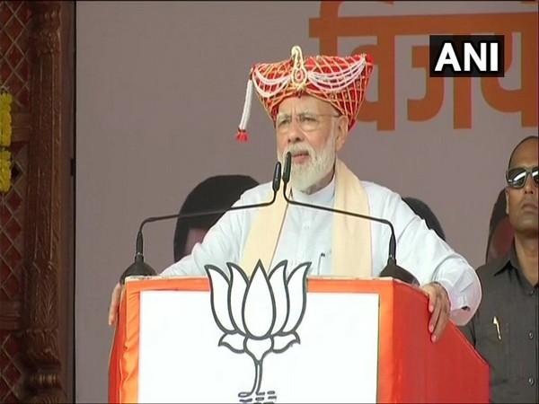 Prime Minister Narendra Modi addressing a public gathering in Maharashtra's Satara on Thursday. Photo/ANI