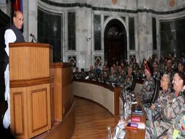 Defence Minister Rajnath Singh addressing the Army Commanders in New Delhi on Friday. (Picture tweeted by Defence Minister_