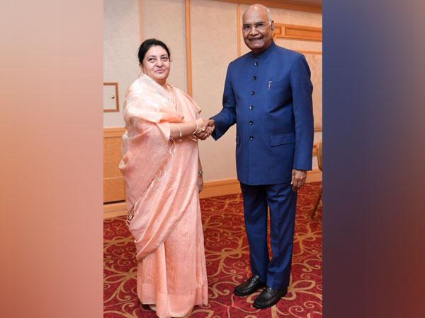 President Ram Nath Kovind [R] and Nepal counterpart Bidya Devi Bhandari [L] in Tokyo
