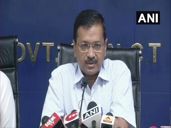 Delhi Chief Minister Arvind Kejriwal addressing a press conference on Tuesday. Photo/ANI