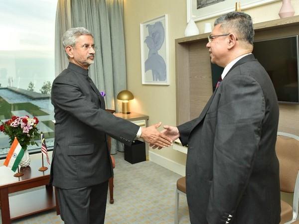External Affairs Minister S Jaishankar and his Malaysian counterpart Saifuddin Abdullah at Baku, Malaysia, on Wednesday.
