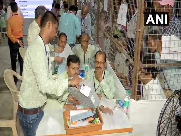 Counting of cotes underway at Colaba counting centre in Mumbai on Thursday morning.