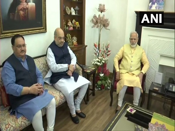 PM Narendra Modi, Home Minister Amit Shah, and BJP president JP Nadda (right to left) (File Photo/ANI)