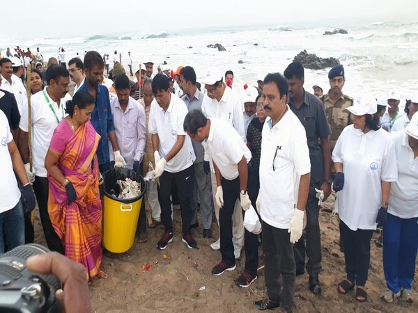 Union Minister Mansukh L Mandaviya during beach cleaning drive in Vizag on Friday. Photo/Twitter