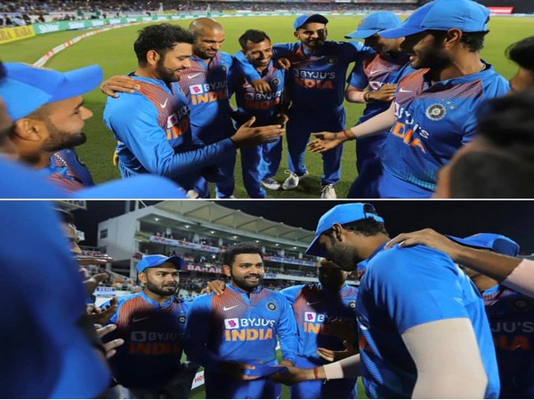 Rohit Sharma getting his 100th T20I cap (Photo/ Rohit Sharma Twitter)
