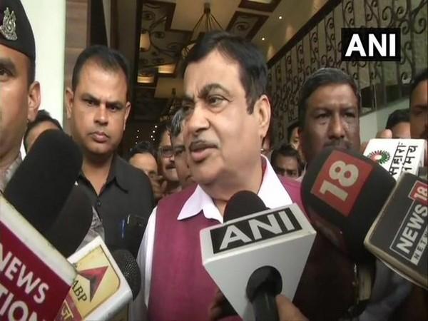 Union Minister Nitin Gadkari speaking to reporters in Nagpur on Saturday. Photo/ANI