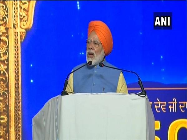 Prime Minister Narendra Modi addressing a gathering at Dera Baba Nanak in Punjab on Saturday.