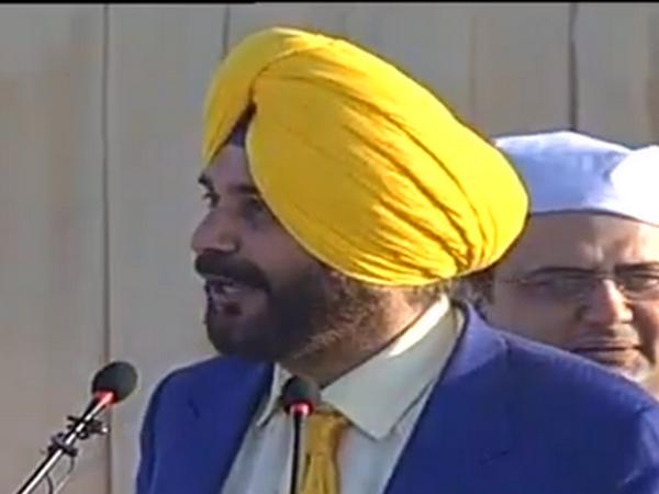 Navjot Singh Sidhu while addressing the inaugural ceremony of Kartarpur Corridor in Pakistan.