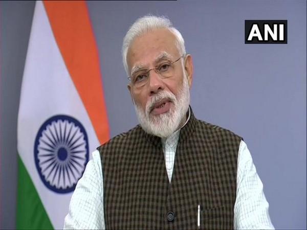 Prime Minister Narendra Modi during his address to the nation on Saturday. Photo/ANI