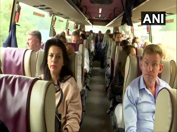 Delhi: The delegation of European Union (EU) MPs scheduled to visit Kashmir today, leave for Delhi Airport from their hotel. Photo/ANI