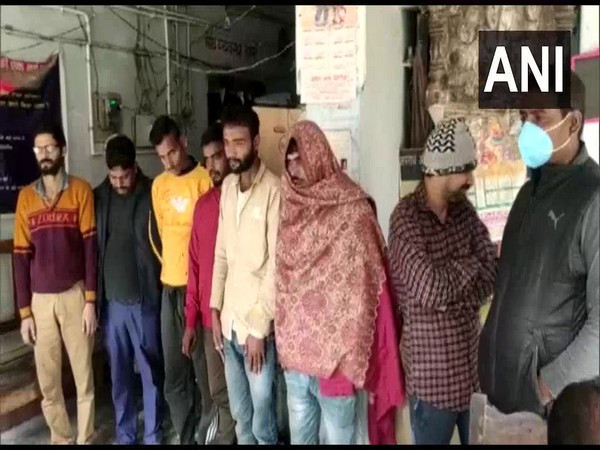 The accused at Kazi Mohammadpur police station in Muzaffarpur on Sunday. (Photo/ANI)