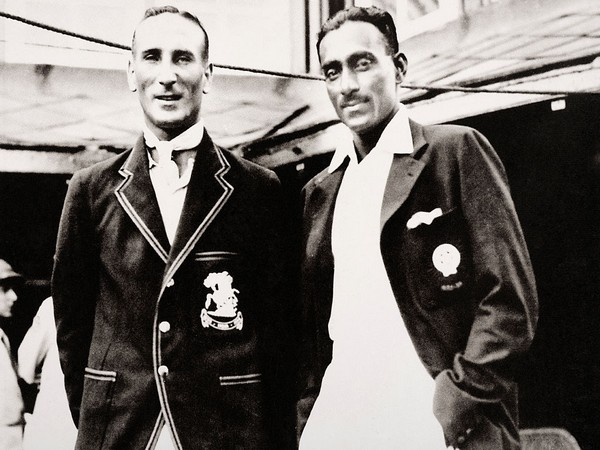 CK Nayudu (right) is pictured with Douglas Jardine during England's first tour of India. (Photo: Twitter/ICC)