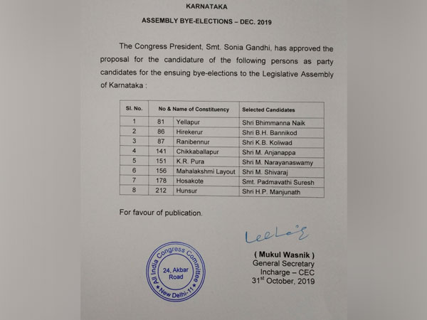 Congress releases list of 8 candidates for Karnataka bypolls.